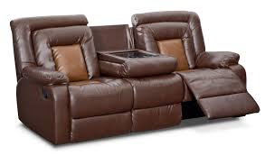 mustang dual reclining sofa with console brown american