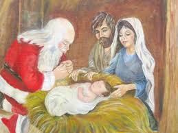 santa kneeling at the manger sinter klaas evolved into santa claus kneeling at the manger