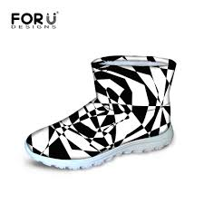 classic black and white short boots for men fashion wither snow