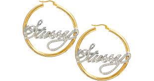 name hoop earrings lyst stussy name plate hoop earrings in metallic