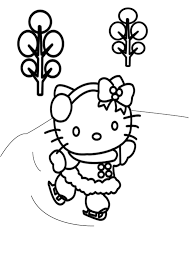 free winter coloring pages hello kitty skating winter coloring