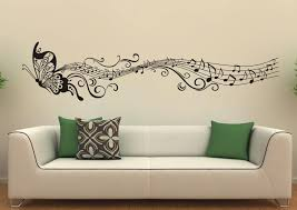 Music Note Decor Decorating Attractive Black Butterfly And Musical Notes Wall