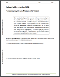 autobiography of andrew carnegie dbq worksheet student handouts