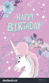magic happy birthday greeting cards unicorn stock vector 708665737