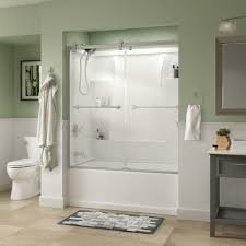 Home Depot Bathtub Shower Doors Delta Lyndall 60 In X 58 3 4 In Semi Frameless Contemporary