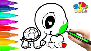 how to draw turtle with hearts for kids coloring pages for