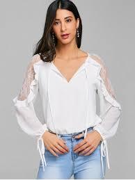 keyhole blouse lace trim ruffle tie keyhole blouse white blouses xl zaful