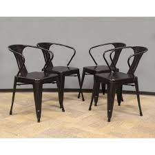 amerihome black metal dining chair set of 4 801293 the home depot