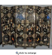 asian decor chinese 6 panel room divider screen with stone and