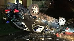 driver flees after car plows into power poles in kent komo