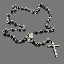rosary necklace black silver rosary bead necklace rosary black silver and