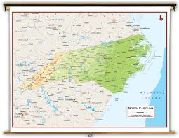 Virginia North Carolina Map by North Carolina State Physical Classroom Map From Academia Maps