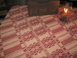 Primitive Coverlets Primitive Cranberry And Tan Woven Coverlet Table Cloth 52x52