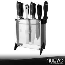 nuevo luxury stainless steel kitchen knife 8 piece set silver