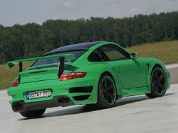 irish green porsche 2007 techart gtstreet based on porsche 911 997 turbo green rear