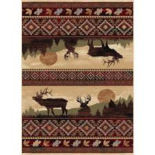Rustic Cabin Lodge Area Rugs Tayse Rugs Nature Red 5 Ft 3 In X 7 Ft 3 In Lodge Area Rug