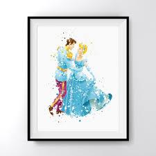cinderella and prince charming dance art print poster carma zoe