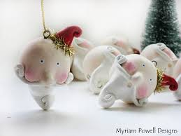 whimsical santa ornament paper clay sculpted