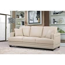 elegant beige leather sofa with ferrara beige leather nailhead