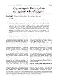 information processing differences between archaea and eukaraya