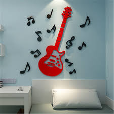 Guitar Home Decor 2015 New Arrival 3d Crystal Arcylic Mirror Wall Stickers Music
