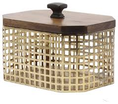uniek glenda perforated gold metal canister with walnut solid