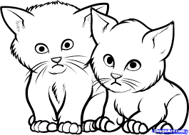 how to draw cats kittens baby animals cartoon line drawing of