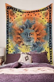 Sun And Moon Bedding Orange And Green Psychedelic Sun Moon Tapestry Tie Dye Sheet