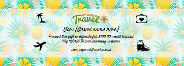 travel gift certificates my world travel gift certificate my world travel co