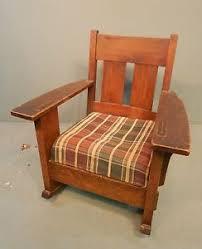 Mission Style Rocking Chair Rare Antique Oak Craft Solid Oak Mission Arts U0026 Crafts Rocking