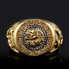 gold ring for men fashion men 18k gold gp cool lion eagle