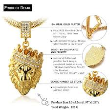 free gold necklace images Halukakah kings landing men 39 s 18k real gold plated crown lion jpg