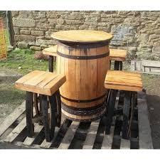 Wine Barrel Patio Table Oak Whisky Barrel Patio Table And Stool Set