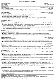 On Campus Job Resume by Entry Level Engineering Resume Berathen Com
