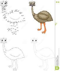 cartoon emu dot to dot game for kids stock vector image 76731028