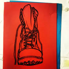 red army boot oil pastel in red paper art illustration