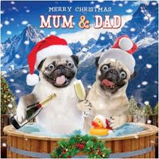 pug mum u0026 dad christmas card love pugs