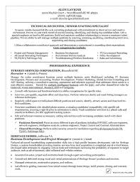 Sample Resume With One Job Experience by Technical Recruiter Resume Example Resume Examples