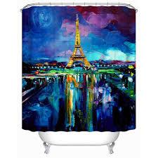 Paris Fabric Shower Curtain by Amazon Com Uphome Unique Oil Painting Paris Eiffel Tower
