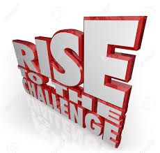the words rise to the challenge in red 3d letters to encourage