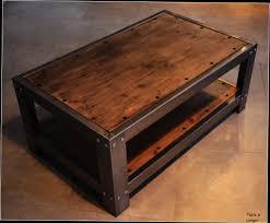 Table De Salon Industrielle by Table Basse Bois Et Metal Rectangulaire U2013 Phaichi Com