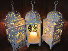 Lantern Centerpiece Small White Scrollwork Moroccan Table Lamp Electric Lantern