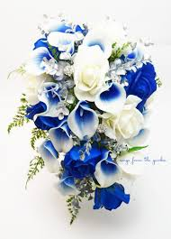 white and blue roses cascade bridal bouquet silver blue white picasso callas real