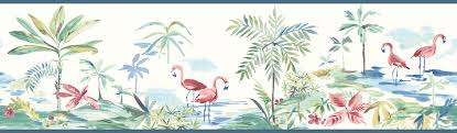 wallpaper with pink flamingos pink flamingos lagoon teal blue wallpaper border 3113 12222b