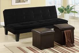 poundex f7197 black tone microfiber sofa futon with 2 storage ottomans