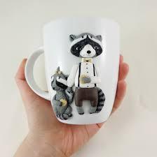 raccoon mug unique tea mug coffee cup original decorated