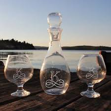 engraved barware personalized elegance wine decanter snifter glasses set engraved