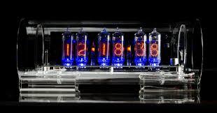 custom glass nixie clock in 14 standard grid model with blue led