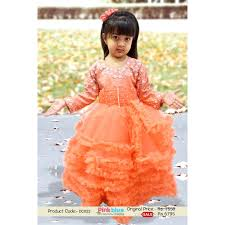 peach color gorgeous peach color baby gown with intricate pearl work in india