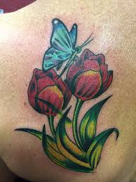 butterfly with roses tattoos